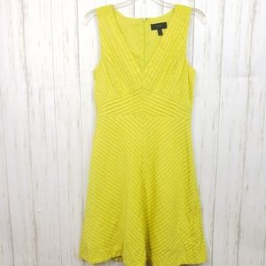 J. Crew Chevron Pleated Dress in Chartreuse Size 4